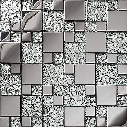 Silver glass brick stainless steel 3D kitchen backsplash ...