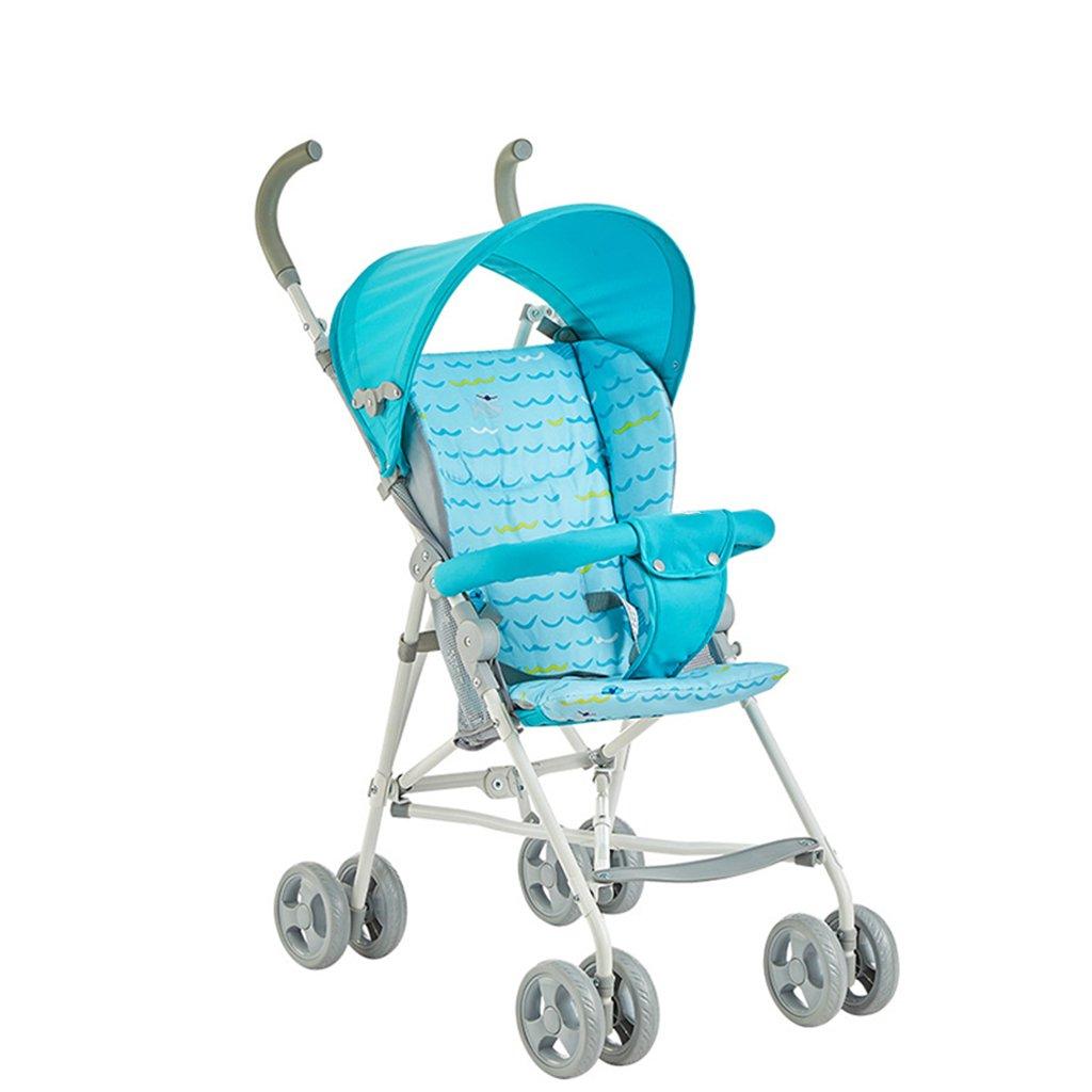 JIANXIN ベビーカー軽量折りたたみカートポータブルミニ子供のトロリー (色 : 青)   B07F7TL41W