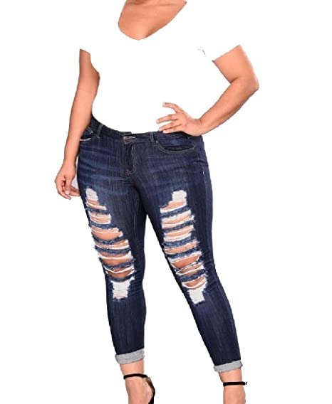 1b54a31235c Abetteric Womens  Plus-Size Denim Destroyed Skinny Jeans Denim Pants r  Flesh M