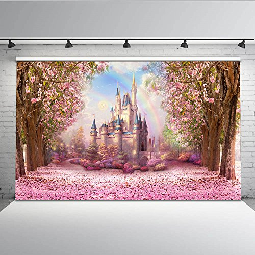 ML Fairytale Castle Photography Background Trees Pink Flowers 7x5ft Wedding Background Backdrops Customized Baby Shower Photocalls… ()