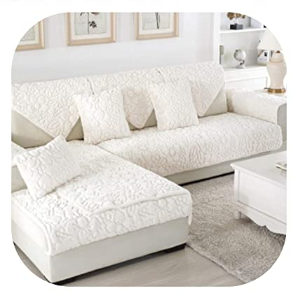 Amazon.com: Fairy music White Grey Plaid Sofa Cover Plush ...