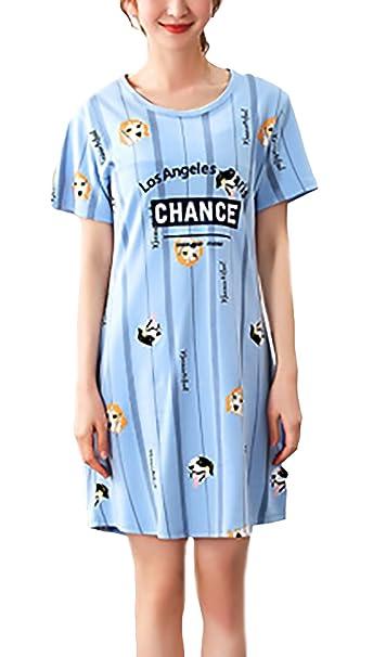 Camisones Mujer De Verano Corto Manga Corta Cuello Redondo Impresión Dulce Lindo Casual Cómodo Pijamas Camison