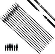 Tiger Archery 30Inch Carbon Arrow Practice Hunting Arrows with Removable Tips for Compound & Recurve Bow(P