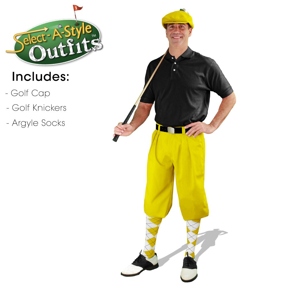 Mens Select-A-Style Golf Knicker Outfit - Yellow - Waist 40 - Sock - YW/WH