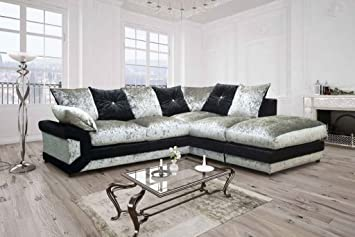 Vargas Crushed Velvet Fabric Sofa (Right Hand Corner, Black + Silver):  Amazon.co.uk: Kitchen U0026 Home