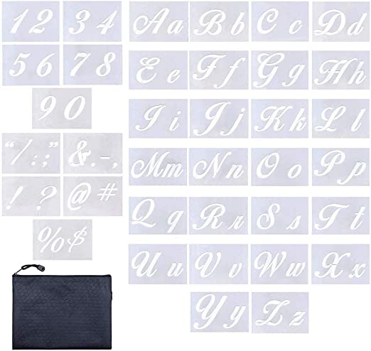 Stencils Alphabet Letters Numbers Characters Upper lower Case 3 Sizes