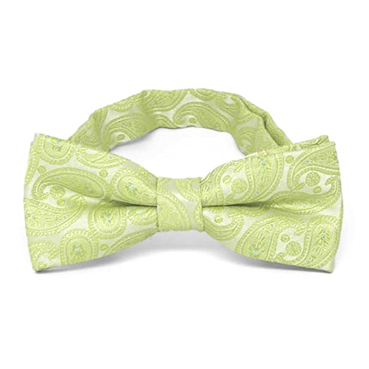 a708feb10e5d Image Unavailable. Image not available for. Color: TieMart Boys' Apple  Green Darlene Paisley Bow Tie
