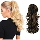 "SEIKEA Claw Clip in Ponytail Extension Long Curly Wavy Pony Tail Hair Extensions For Women 10"" - Medium Ash Brown"