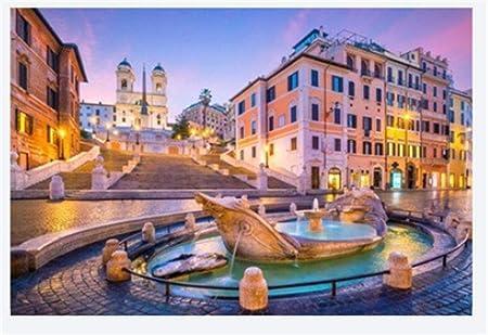 Rompecabezas Rompecabezas Adulto 1000 Piezas Plaza De España En La Mañana Roma Italia En El Paisaje Crepuscular Puzzle De 1000 Piezas: Amazon.es: Hogar
