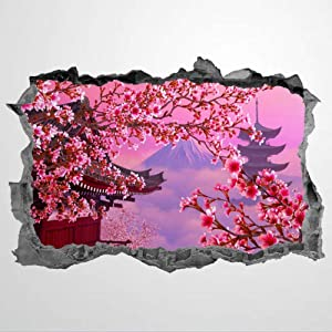 Cherry Blossom 3D Wall Stickers Mural Smashed Wall Art Removable Poster Vinyl decals For Bedroom Living Room Playroom Nursery Office Shop,31inch