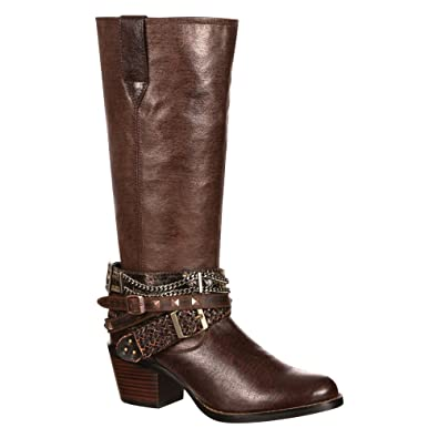 Women's Chocolate Philly Accessorized Western Boot Round Toe - Drd0073