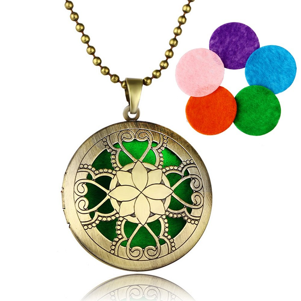 GerTong 1PCS Aromatherapy Essential Oil Diffuser Pendant Necklace, Hollow Flowers Shape Locket with Beads Chain 5 Refill Pads