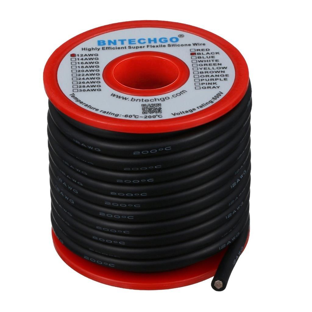 BNTECHGO 12/calibre alambre de silicona de alta temperatura resistente suave y Flexible alambre 12/AWG silicona 680/hilos de alambre de cobre de Tined