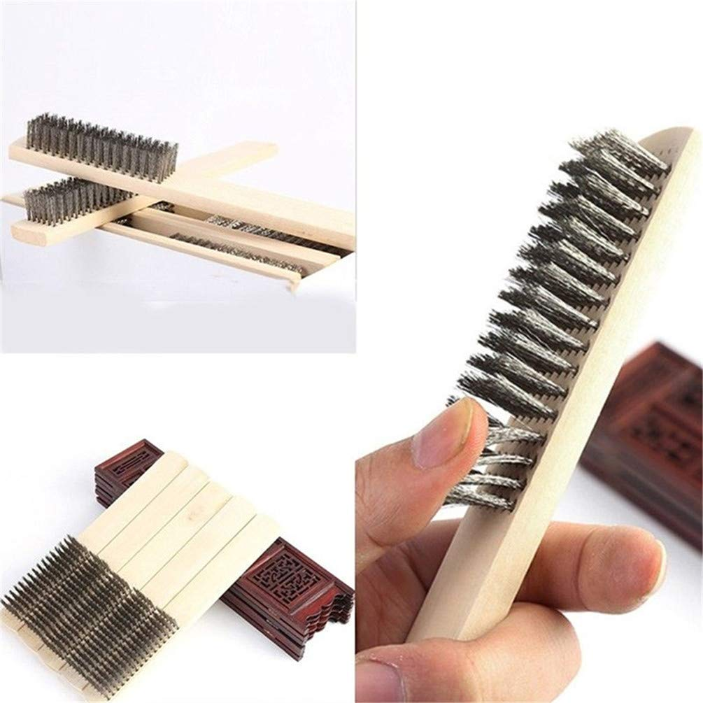 KYMLL Stainless Steel Wire Cleaning Brushes Wood Handle Wire Scratch Dust Brush Clean Brush