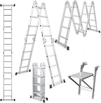 Escalera multiusos con bandeja de herramientas, escalera plegable 4,7 m, escalera extensible de aluminio 14 en 1, escalera resistente con bisagras de bloqueo de seguridad, capacidad de 330 libras: Amazon.es: Bricolaje y herramientas