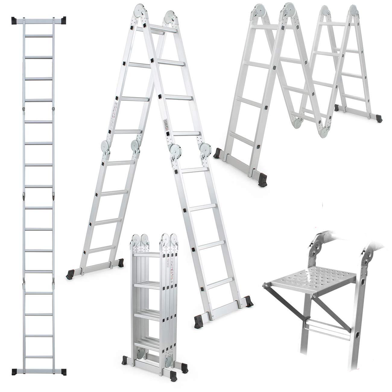 15.5FT Platform Multi-Purpose Folding w/Free Tool Tray Multi-Fold Step Aluminum Ladder EN131 Scaffold Extension ZanGe Factory
