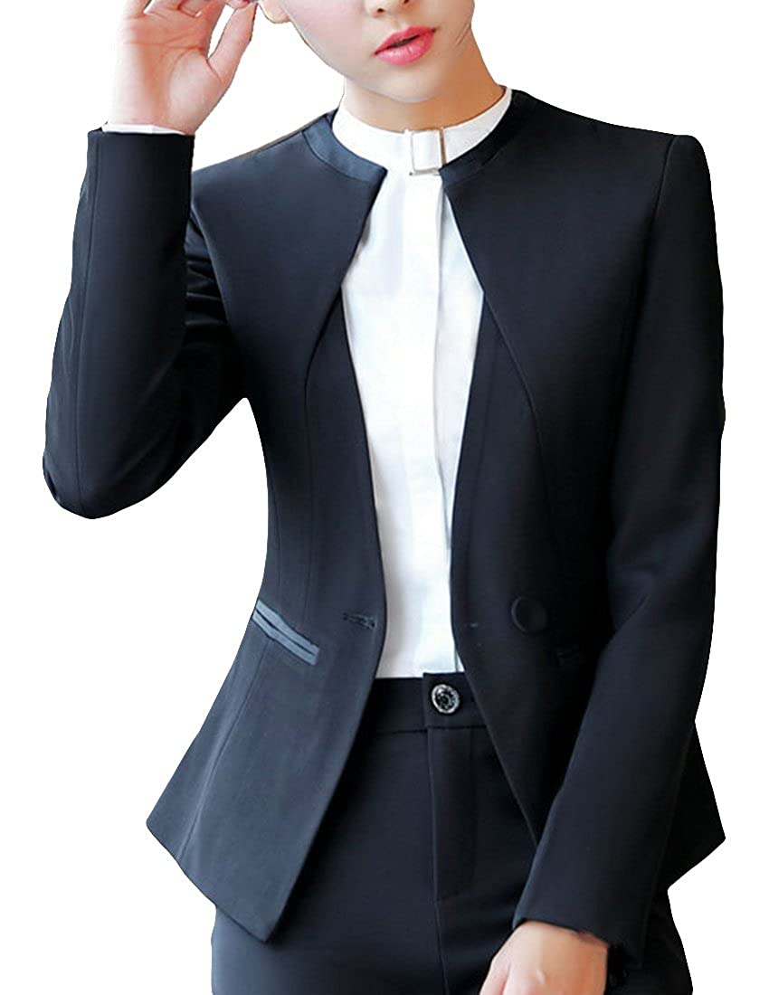 MFrannie Women Slim One Button Crew Neck Suit Jacket and Skirt 2 Piece