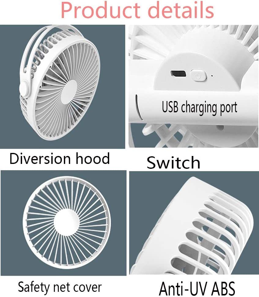 USB Clip On Desktop Fans Portable Stroller Mini Personal with Rechargeable Operated Quiet Desk Fan for Home Office Travel and Outdoor