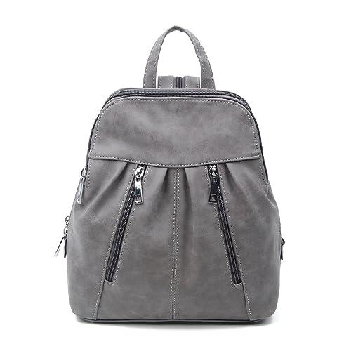 Marc Chantal - Bolso mochila de cuero para mujer negro gris 26x28x10 cm (BxHxT)