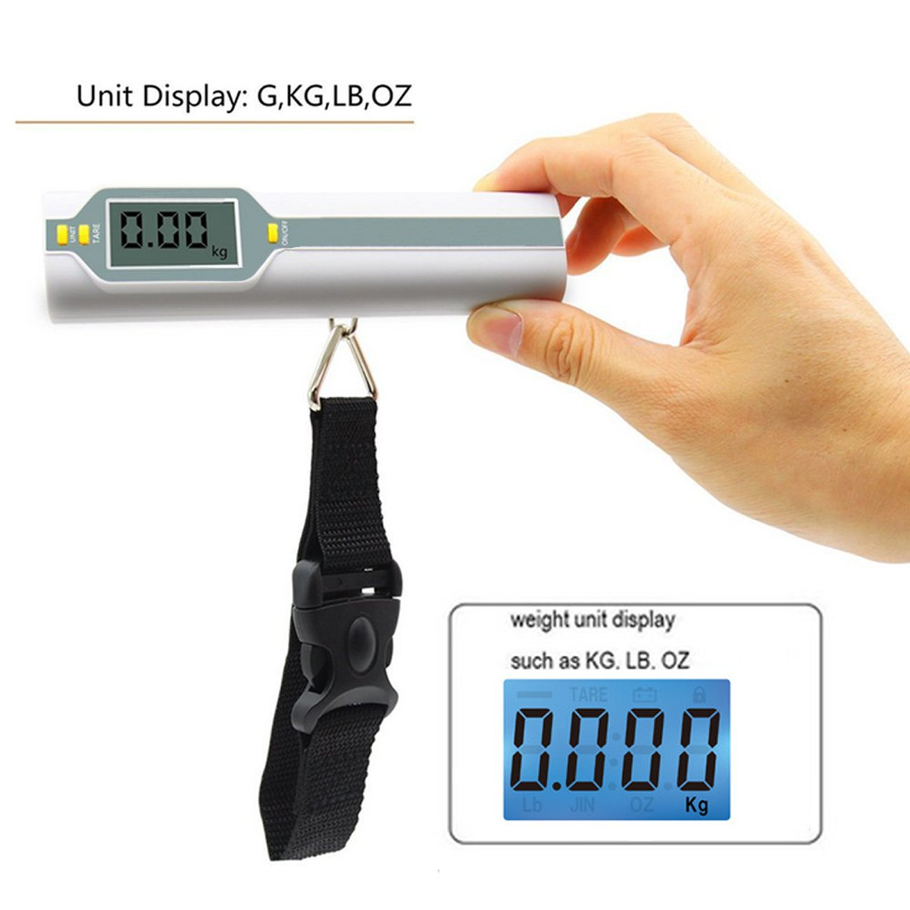 Luggage Scale, LCD Luggage Weight Scale Travel Luggage Scale Digital Luggage Scale, Lightweight Portable Electronic Digital Scale Suitcase Scales for Travel 110lb/50kg by KalorK