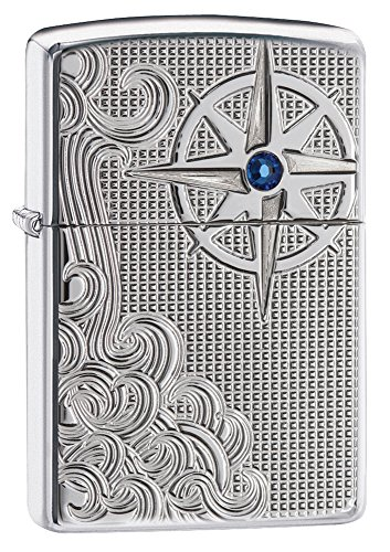 Zippo Armor Nautical Waves Pocket Lighter with Crystal, High Polish Chrome
