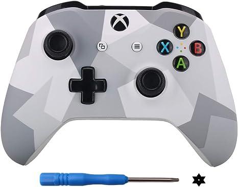9CDeer Frente Cáscara Alojamiento Estuche para Xbox One S y Xbox One X Controlador DIY Personalizar Placa frontal del kit de reparación de reemplazo camuflaje blanco: Amazon.es: Videojuegos