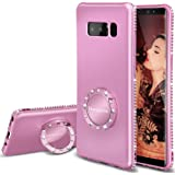 Galaxy Note 8 Case, Cute Glitter Girls Phone Cases with Kickstand Ring Stand Girly Luxury Diamond Sparkle Bling Samsung Galaxy Note 8 Case for Women - Light Purple