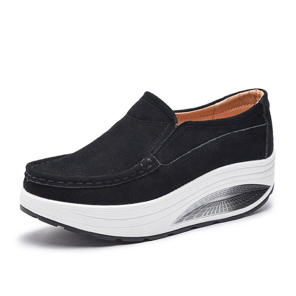 Damenschuhe Shake schuhe Frühling Herbst Shaking Schuhe dick besohlten Leder große Größe Schuhe Scrub Suede Damen Casual Slope mit dicken Sohlen Schuhe (Farbe   Schwarz Größe   37)