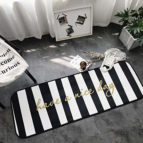 Home and Kitchen Rugs Door Mat Black and White Striped Non Slip/Skip Runner Decorative Entrance Floor Carpet for Bathroom Bedroom-Have a Nice Day (Outdoor Kitchens Nice)