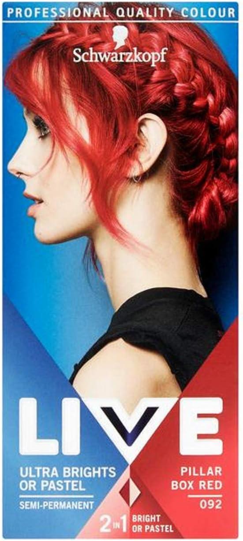 Schwarzkopf Live Color Xxl Tinte Para El Cabello De Color Rojo Ultra-Brights 92 Pillar Box Rojo Semipermanente