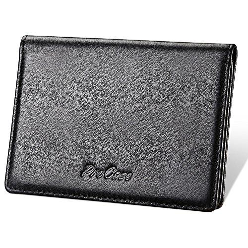 Genuine Leather Business Card Holder, ProCase Professional Name Card Holder Ultra Slim Wallet Case Folio Credit Card Organizer for Men and Women –Black