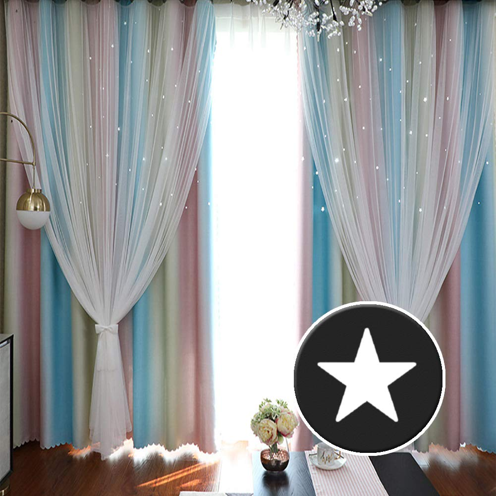 ARTBECK Kids Star Blackout Curtains Rainbow Gradient Stripe Hollow-Out Stars Curtains Tulle Double Layer Window Blackout Drapes for Kid's Bedroom, Living Room (Stripe Rainbow, 1 Pc | 52W x 84L) by ARTBECK