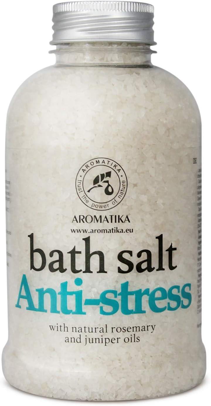 De-Stress Bath Salt 600g w/Natural Rosemary & Juniper Oils - Natural Bath Sea Salts - Best for Good Sleep - Relaxing - Calming - Body Care - Beauty - Aromatherapy
