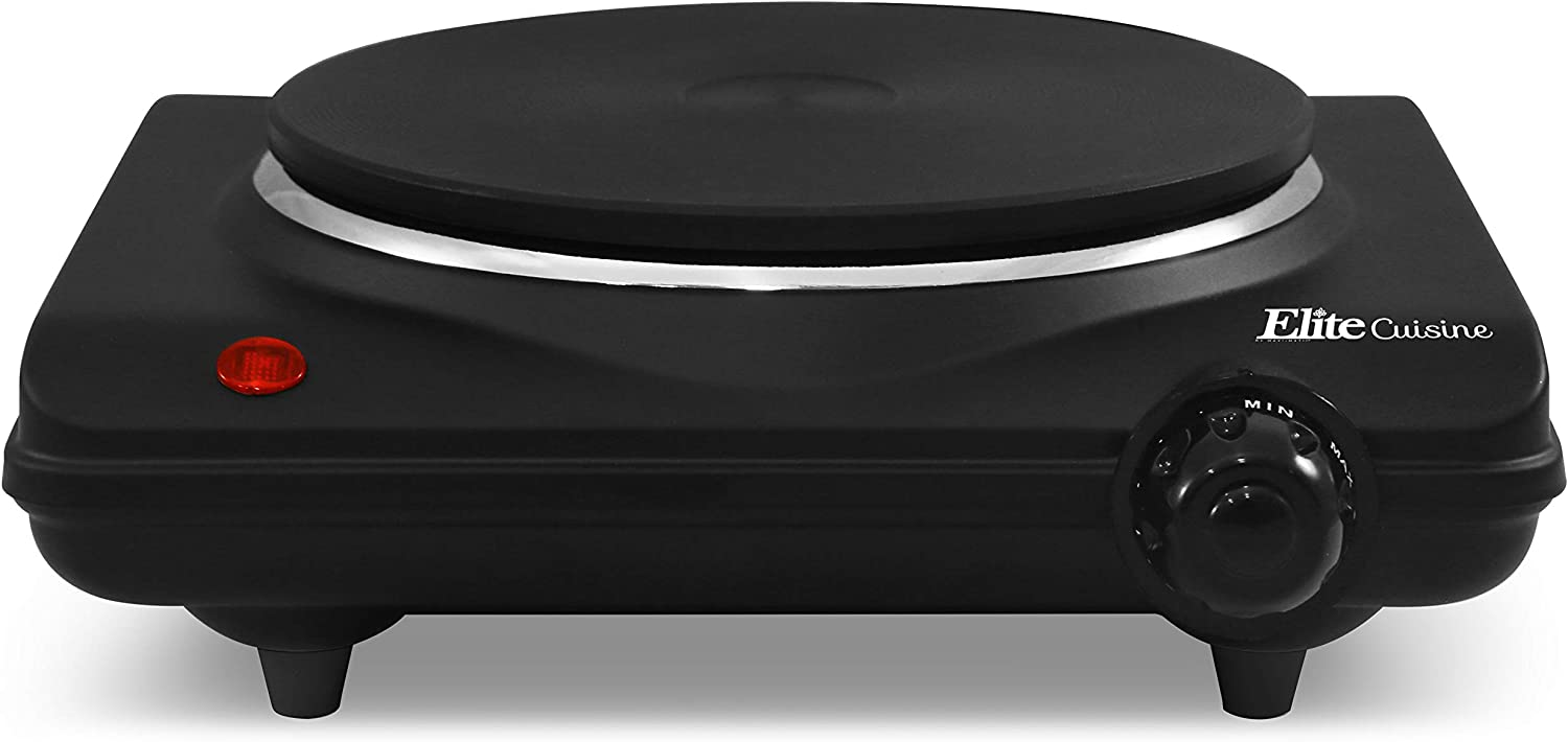 Elite Gourmet Single Electric Flat Cast Iron Heating Plate Burner Power Indicator Light, Non-Skid Feet, Easy To Clean, Black: Electric Countertop Burners: Kitchen & Dining