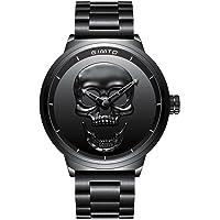 GIMTO - Reloj de Pulsera para Hombre, diseño de Calavera 3D, Esfera Grande de Acero Inoxidable, Cuarzo, Estilo clásico, Estilo Militar