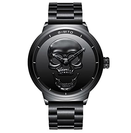 ae9e57ba85cfd GIMTO Creative 3D Skull Men's Watch Cool Stainless Steel Big Dial Vintage  Boy Quartz Military Wristwatch (Black 3D skull)