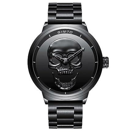 GIMTO Creative 3D Skull Mens Watch Cool Stainless Steel Big Dial Vintage Boy Quartz Military Wristwatch
