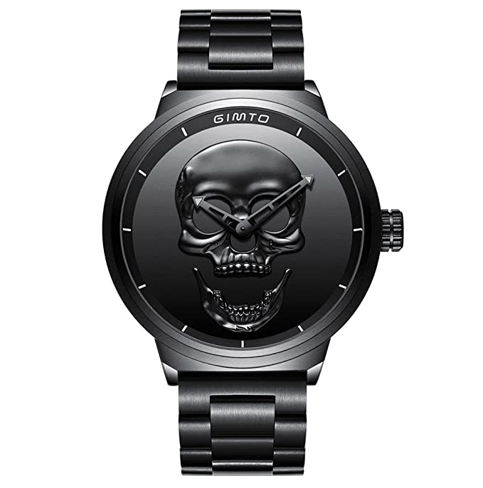 Amazon.com: GIMTO Creative 3D Skull Mens Watch Cool Stainless Steel Big Dial Vintage Boy Quartz Military Wristwatch (Black 3D skull): Home & Kitchen