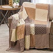 Knit Afghan Block Club - 30-Block Stitch Sampler Afghan Subscription Club: Warm Sand Colorway