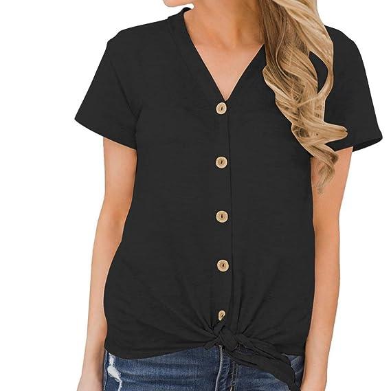 ❤ Blusa de Botones de Manga Corta,Camiseta sin Mangas para Mujer con Cuello en V Color Puro, Blusa sin Mangas: Amazon.es: Ropa y accesorios