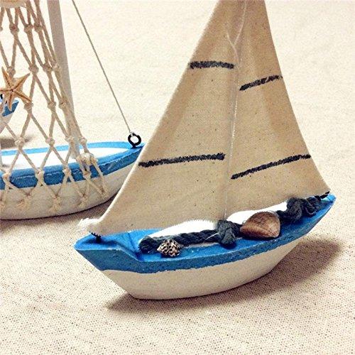Teabelle Vogue Panno Decorazione Nautico Barca a Vela Legno Velieromodello Bandiera da Tavolo Ornamento