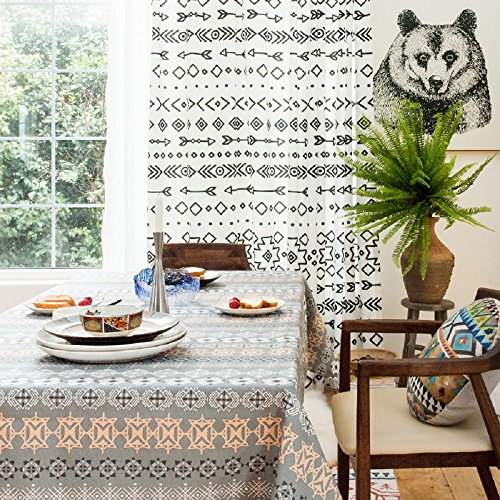 KARUILU home Rectangular Heavy Weight Cotton Linen Indoor / Outdoor Tablecloth (Islamic Art, 55'' x 70'') by KARUILU home