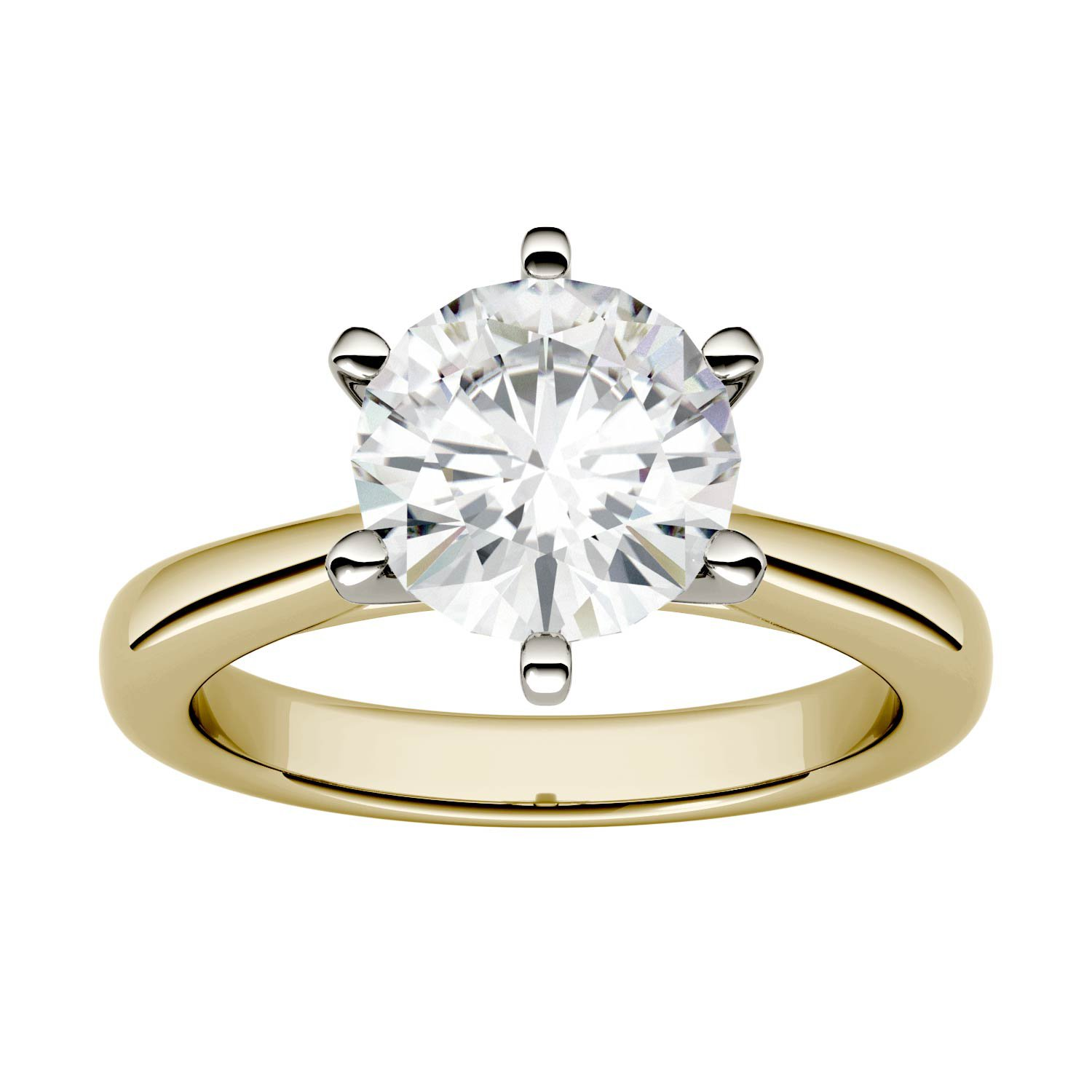 Forever One Round 8.0mm Moissanite Engagement Ring-size 6, 1.90ct DEW (D-E-F) By Charles & Colvard