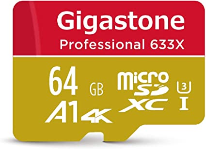 Gigastone 64GB Micro SD Card, Professional 4K Ultra HD, High speed 4K UHD gaming, Micro SDXC UHS-I U3 C10 Class 10 Memory Card with Adapter