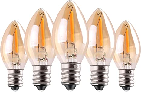 C7 Led Bulb 0 5w Light Candle Bulbs Amber Glow 5w Incandescent Replacements E12 Candelabra Base Led Filament Night Bulb Ultra Warm White 2200k Decorative String Edison Lamp Non Dimmable 5 Pack