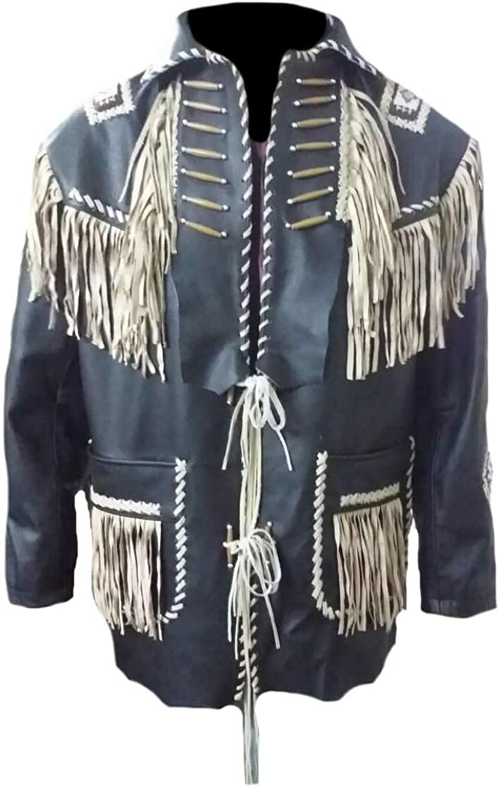 SleekHides Mens Western Real Leather Fringed and Boned Jacket