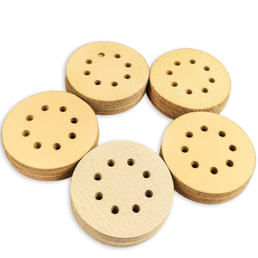 Coceca 100pcs 5 Inches 8 Hole Hook and Loop Sanding Discs, 20pcs Each 60 80 120 150 220 Grits Sandpaper, fit for Random Orbit Sander, Random Orbital Sander 61W9p2Ba7dgL