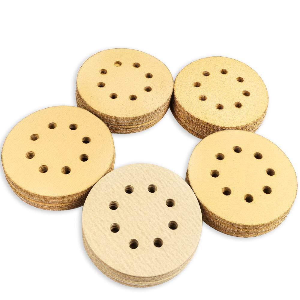 Coceca 5-Inch 8-Hole Hook and Loop Sanding Discs, 20pcs Each 60/80/120/150/220 Grits Sandpaper, Pack of 100,fit for Random Orbit Sander, Random Orbital Sander