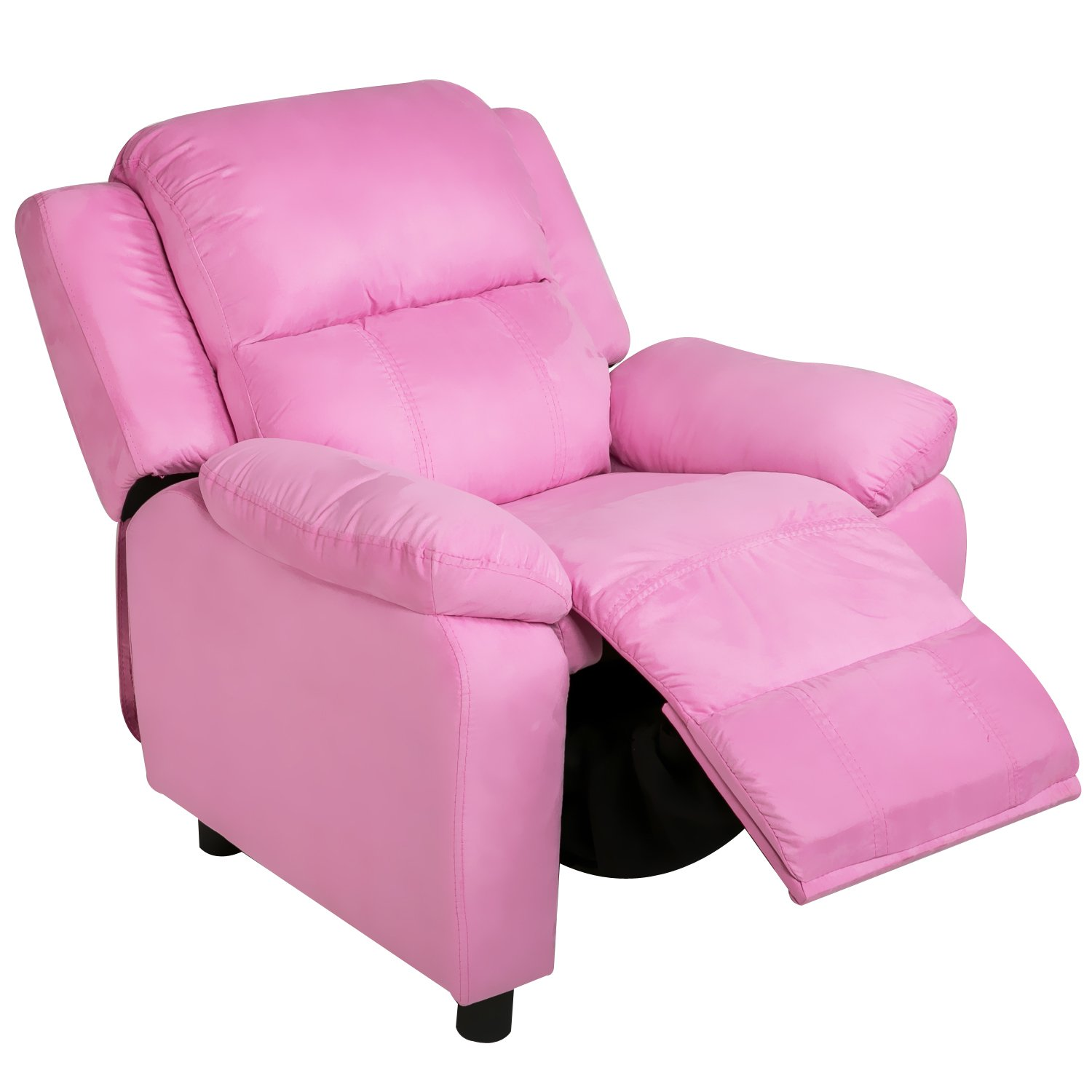 Harper&Bright Designs Kids Recliner with Arms Fabric Sofa Chair for Child (Pink Fabric)