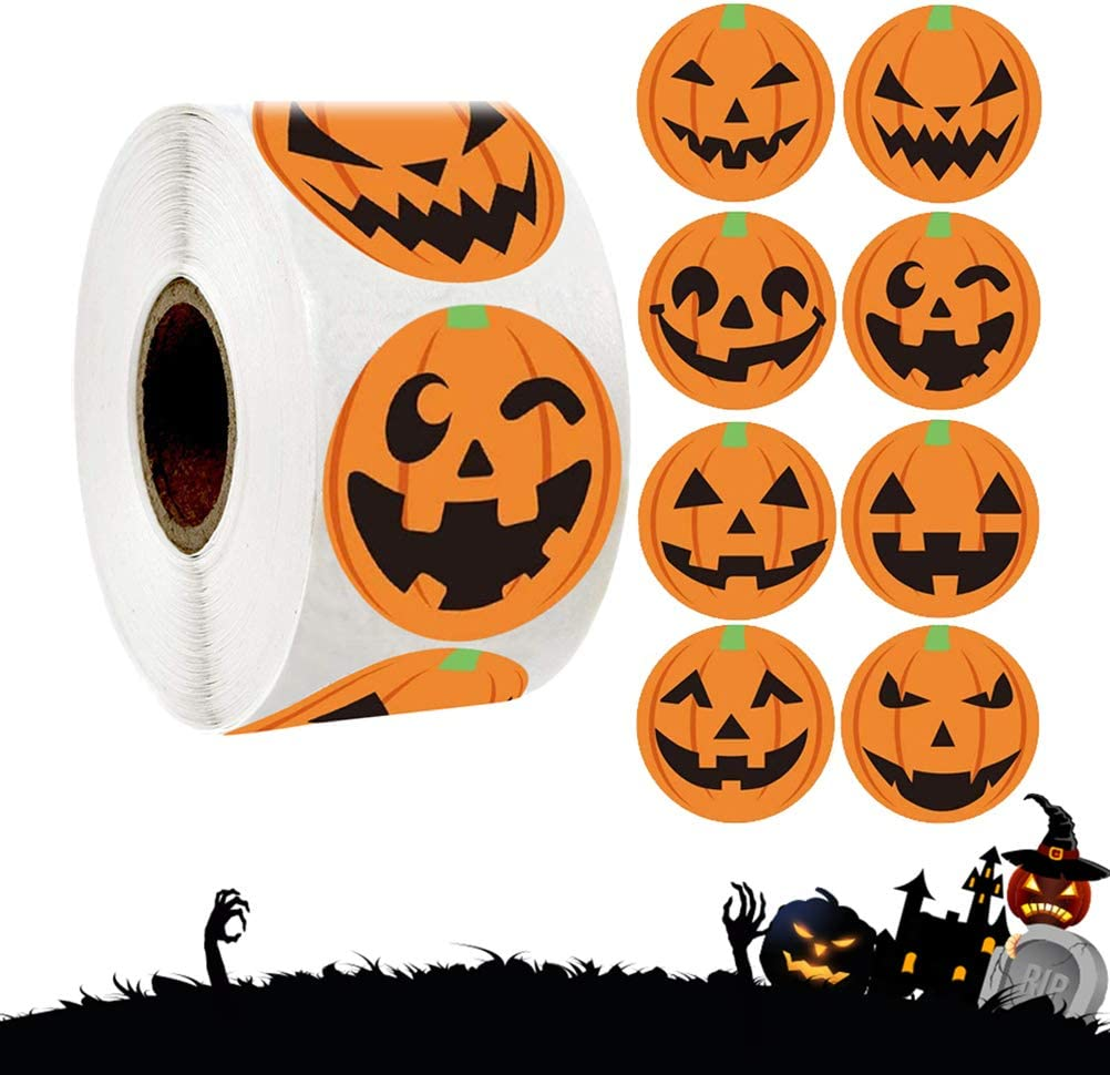 Creative Pumpkin Stickers Halloween Pumpkin Stickers Gift Packing Sticker for Halloween Party Festival DIY
